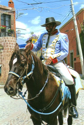 Mexican policeman costumed in the uniform of their local hero, Ignatio Allende